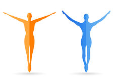 Menselijk lichaamssilhouetten stock illustratie