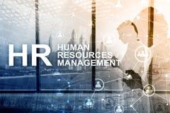 Menselijk middelbeheer, u, Team Building en rekruteringsconcept op vage achtergrond stock afbeelding