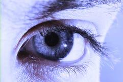 Menselijk oog in blauwe kleur Stock Afbeelding