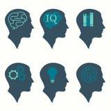 menselijk profiel hoofdconcept, met hersenen, bol, boek, labyrint en toestelpictogram royalty-vrije illustratie
