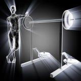 Menselijk radiografieaftasten in gymnastiekruimte Stock Foto