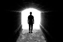 Menselijk silhouet in achterverlichting stock foto's