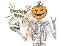Menselijk skelet met Halloween-pompoen in plaats van het hoofd stellen over grunge vectorillustratie als achtergrond Halloween-ko Stock Afbeelding