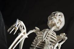 Menselijk skelet met sigaret Royalty-vrije Stock Fotografie