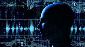 Menselijk technologie-hoofd bij matrijsachtergrond met elektronische kringen royalty-vrije illustratie