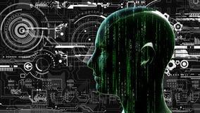 Menselijk technologie-matrijshoofd bij achtergrond met elektronische kringen stock illustratie