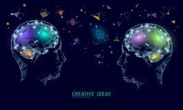 Menselijk van de bedrijfs herseneniq slim concept E-lerend nootropic drugsupplement braingpower Uitwisselings van ideeën creatief vector illustratie