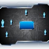 Menselijk Voorzien van een netwerk op Motherboard Royalty-vrije Stock Foto