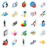 Menselijk wezen geplaatste pictogrammen, isometrische stijl Stock Foto