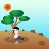 Menselijk wil een boom, concept sparen aarde Stock Afbeelding