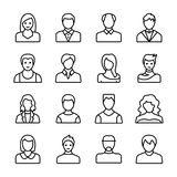 Menselijke Avatars Lijnpictogrammen vector illustratie