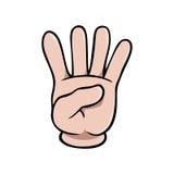 Menselijke beeldverhaalhand die vier vingers tonen vector illustratie