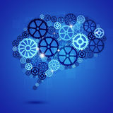 Menselijke Brain Shape Gears Blue Business-Achtergrond Stock Afbeelding