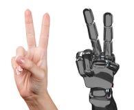 Menselijke en robotachtige hand samen het 3d teruggeven Royalty-vrije Stock Fotografie