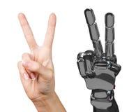 Menselijke en robotachtige hand samen het 3d teruggeven Stock Afbeelding