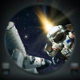 Menselijke exploratie van diepe ruimte vector illustratie
