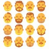 16 menselijke gele gezichten met verschillende kapsel en baard; royalty-vrije illustratie