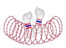 Menselijke Hand Dichtgeklemde Vuist na Draadbarrière Royalty-vrije Stock Afbeelding
