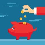 Menselijke Hand en Moneybox Piggy Illustratie in vlakke ontwerpstijl Royalty-vrije Stock Afbeeldingen