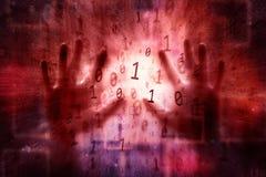 Menselijke hand met abstracte binaire aantallenachtergrond Stock Afbeeldingen