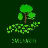 Menselijke hand met groene bosbomen Royalty-vrije Stock Foto's