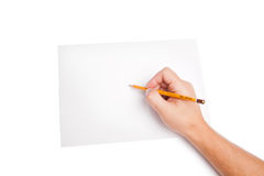 Menselijke hand met potlood die iets schrijven royalty-vrije stock foto's