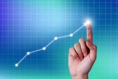Menselijke hand wat betreft de groeigrafiek op het virtuele scherm stock foto