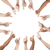 Menselijke handen die duimen in cirkel tonen Royalty-vrije Stock Afbeelding