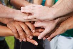 Menselijke handen die eenheid tonen Stock Foto