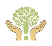 Menselijke handen die groen boomsymbool houden Conceptenillustratie voor milieuzorg of hulpproject vector illustratie