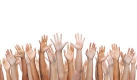 Menselijke handen die handen golven Royalty-vrije Stock Foto