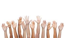 Menselijke handen die handen golven Royalty-vrije Stock Afbeelding