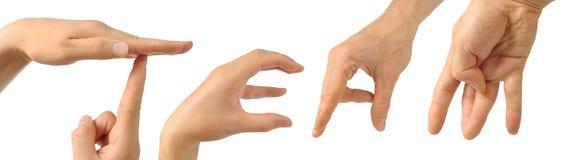 Menselijke handen die het woord bouwen Stock Foto's