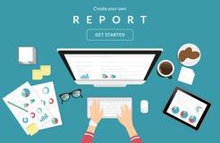 Menselijke handen die op het financiële verslag van het computertoetsenbord typen vector illustratie