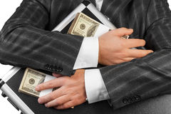 Menselijke handen en geval met Geld stock foto