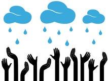 Menselijke handen en regenende wolken Royalty-vrije Stock Afbeeldingen
