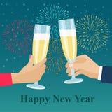 Menselijke handen met glazen met champagne Feestelijk vuurwerk royalty-vrije illustratie