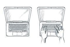 Menselijke handen op laptop toetsenbord, schetsillustratie Freelance baan, programmeringsconcept royalty-vrije illustratie
