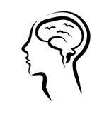 Menselijke hersenen in een silhouethoofd Stock Afbeeldingen