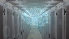 Menselijke hersenen en binaire codes stock illustratie