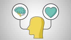 Menselijke hersenen en harthd definitie stock illustratie