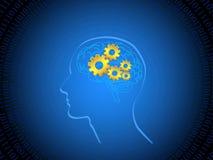 Menselijke hersenen met radertjes Stock Foto's