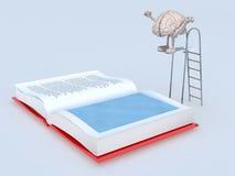 Menselijke hersenen op trampolineonderdompeling in het boek Stock Foto