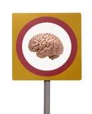 Menselijke hersenen op verkeersteken stock foto