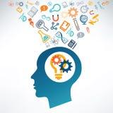 Menselijke hoofd en wetenschapspictogrammen Stock Foto