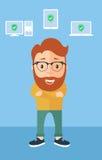 Menselijke hoofdreparatiecomputer, vlak ontwerp Stock Afbeelding