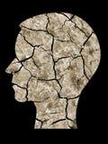 Menselijke hoofdsilhouet gebarsten aarde Stock Afbeelding