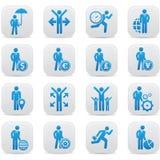 Menselijke hulpbron, de pictogrammen van Businessma n, Blauwe versie Royalty-vrije Stock Afbeeldingen