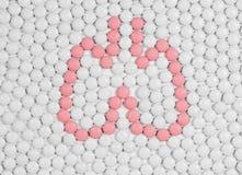 Menselijke longen van pillen Stock Afbeeldingen