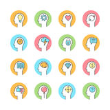 Menselijke mening, brainstorming, het denken lijn vlak pictogram Stock Afbeeldingen